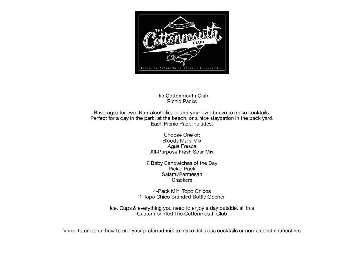The bar is also launching the Cottonmouth Quarantine Quickstop -- featuring signature cocktail concoctions, and Quarantine Picnic Packs that will be introduced on August 1st.