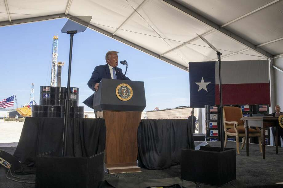 President Donald Trump talks to a crowd at a Double Eagle Energy oil and gas operation in front of Latshaw Rig No. 43 on Wednesday, July 29, 2020 in Midland County. Jacy Lewis/Reporter-Telegram Photo: Jacy Lewis/Reporter-Telegram / MRT