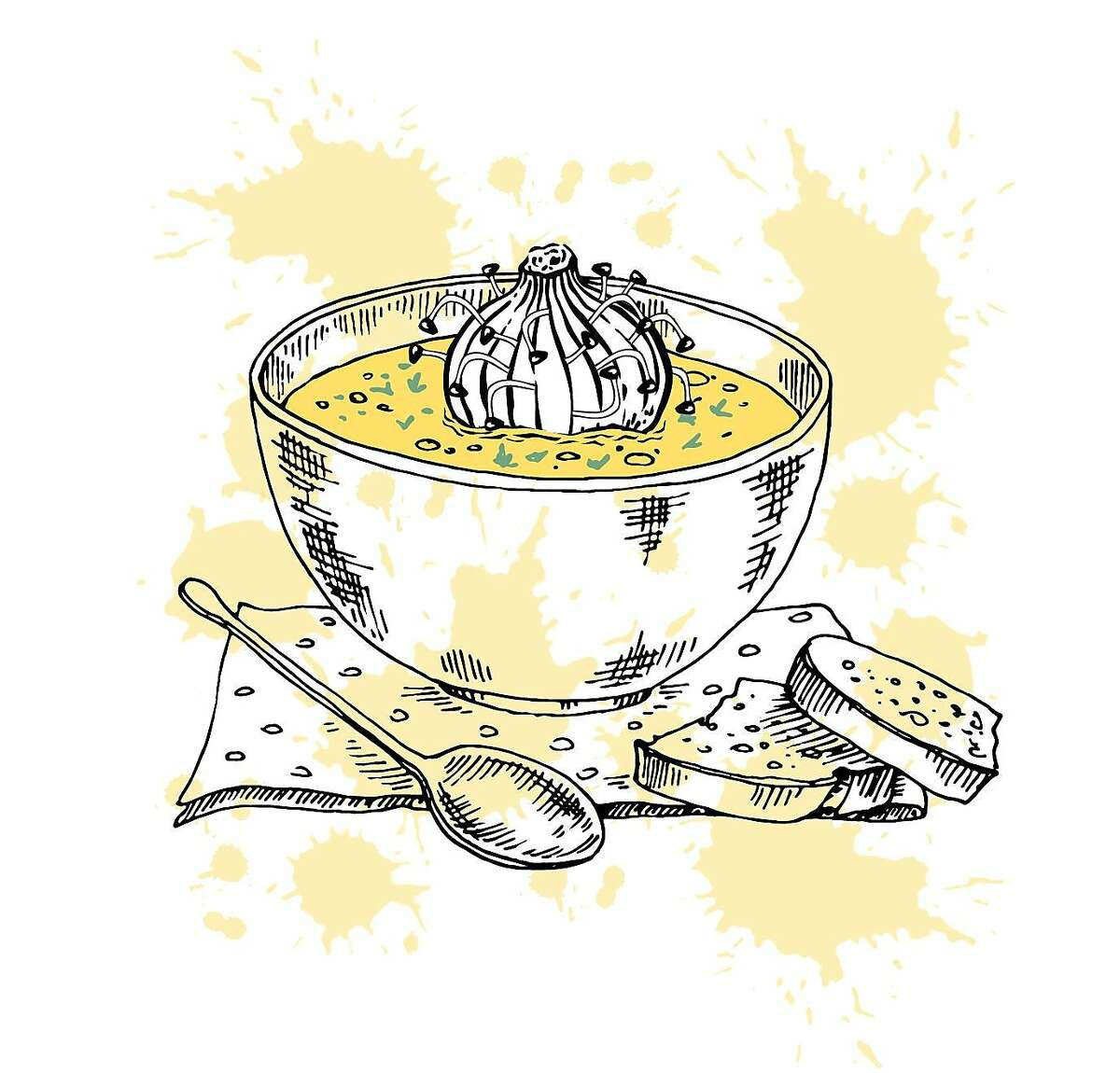 """Illustration for Daniel Handler's short fiction piece """"Waiters."""" A dumpling with bean sprouts sits in soup."""