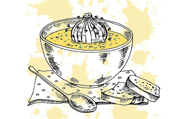 "Illustration for Daniel Handler's short fiction piece ""Waiters."" A dumpling with bean sprouts sits in soup."