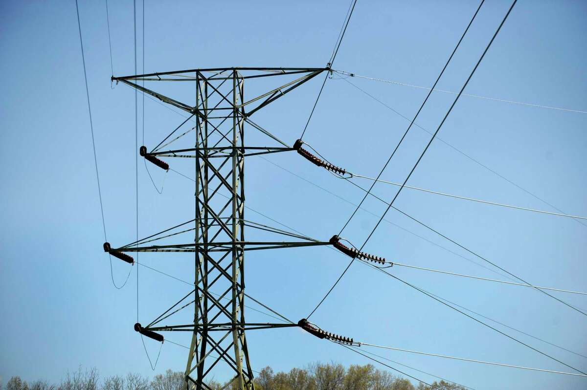 Electrical towers near the Eversource substation at 49 Stony Hill Road in Brookfield.