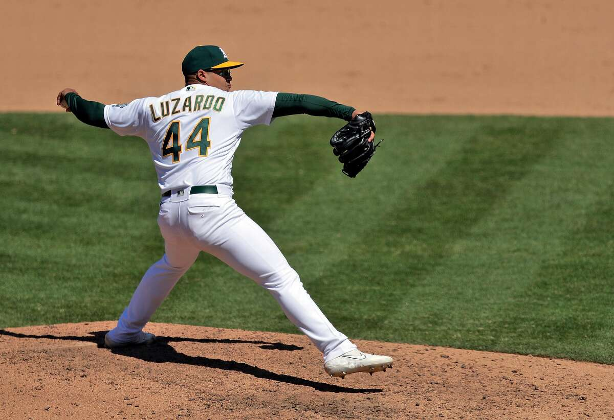 Jesus Luzardo (44) pitches in the ninth inning as the Oakland Athletics played the Colorado Rockies at the Coliseum in Oakland, Calif., on Wednesday, July 29, 2020.