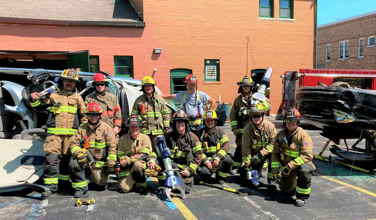 (Front row, from left to right) Sam Koscinski, Scot Mcleod, Brent Haskin, Brandon Nelson, Daniel Reck, John Peddie, (back row) Chris Jefries, Gordon Grant, Dave Pete, Heath Darling and John Robydek participated in the extrication training on Wednesday at the Manistee City Fire Department. (Courtesy photo)