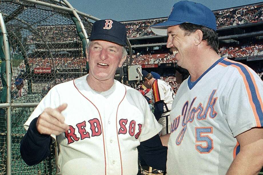 Red Sox manager John McNamara (left) and Mets manager Davey Johnson chat before the 1987 All-Star Game in Oakland. McNamara, who also briefly managed the A's, died Tuesday, July 28, 2020, in Tennessee. He was 88. Photo: Paul Sakuma / Associated Press 1987