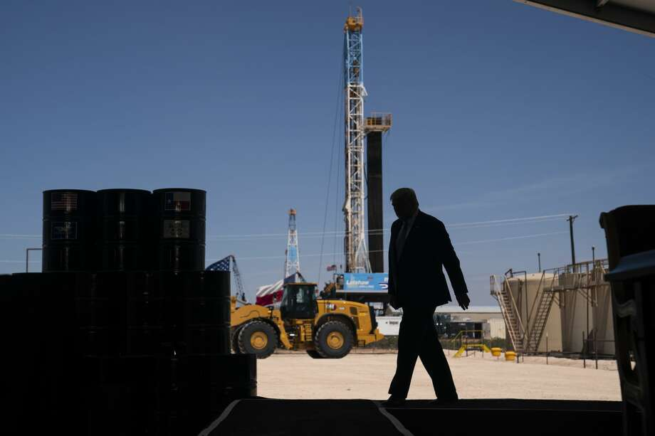 President Donald Trump arrives to deliver remarks about American energy production during a visit to the Double Eagle Energy Oil Rig, Wednesday, July 29, 2020, in Midland, Texas. (AP Photo/Evan Vucci) Photo: Evan Vucci/Associated Press / Copyright 2020 The Associated Press. All rights reserved