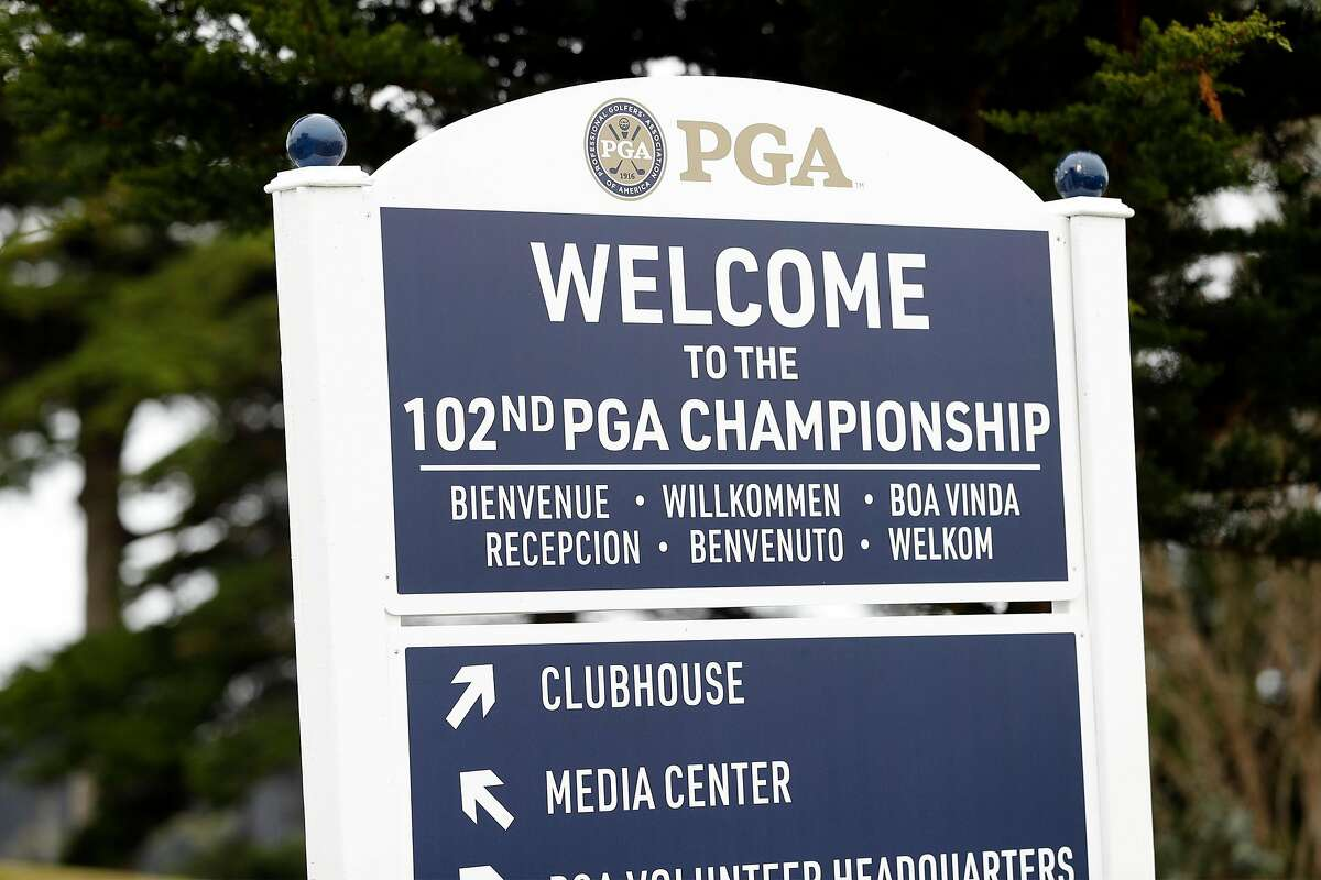 Welcome sign at Harding Park Golf Course in San Francisco, Calif., on Tuesday, July 28, 2020. Harding Park will host the PGA Championship next week.