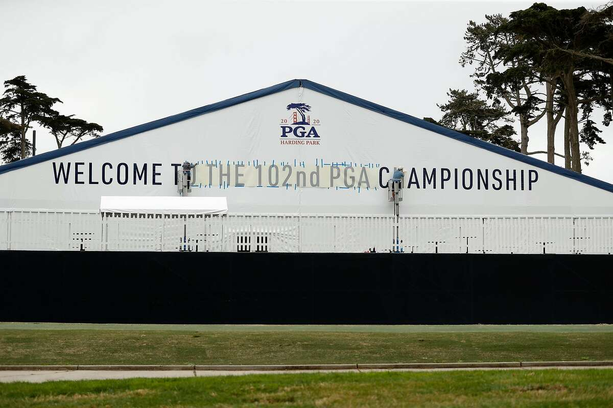 A welcome sign is applied to players' locker room tent at Harding Park Golf Course in San Francisco, Calif., on Tuesday, July 28, 2020. Harding Park will host the PGA Championship next week.