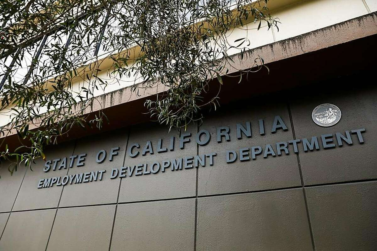 The Employment Development Department office sign is seen on Monday, June 15, 2020 in San Francisco, California.