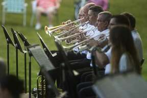 The Chemical City Band performs Wednesday, July 29, 2020 at the Nicholson-Guenther Band Shell in Central Park in Midland. (Katy Kildee/kkildee@mdn.net)