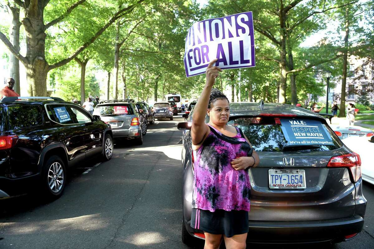Kimberly Rice of Stratford participates in a Yale University Union Local 34 and 35 rally on Hillhouse Avenue in New Haven on July 29, 2020.