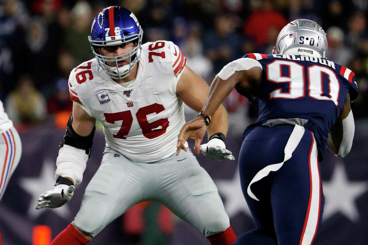 FILE - In this Oct. 10, 2019, file photo, New York Giants offensive tackle Nate Solder looks to block against the New England Patriots during an NFL football game in Foxborough, Mass. Solder has opted out of the 2020 NFL season because of the coronavirus pandemic.(Winslow Townson/AP Images for Panini, File)
