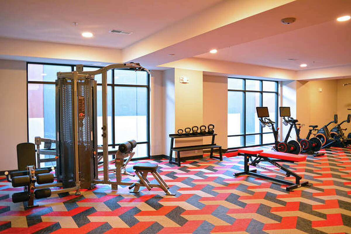 Free weights, weight lifting stations and exerise bikes are among the amenities waiting for residents' use in Whispering Heights' new North Tower.