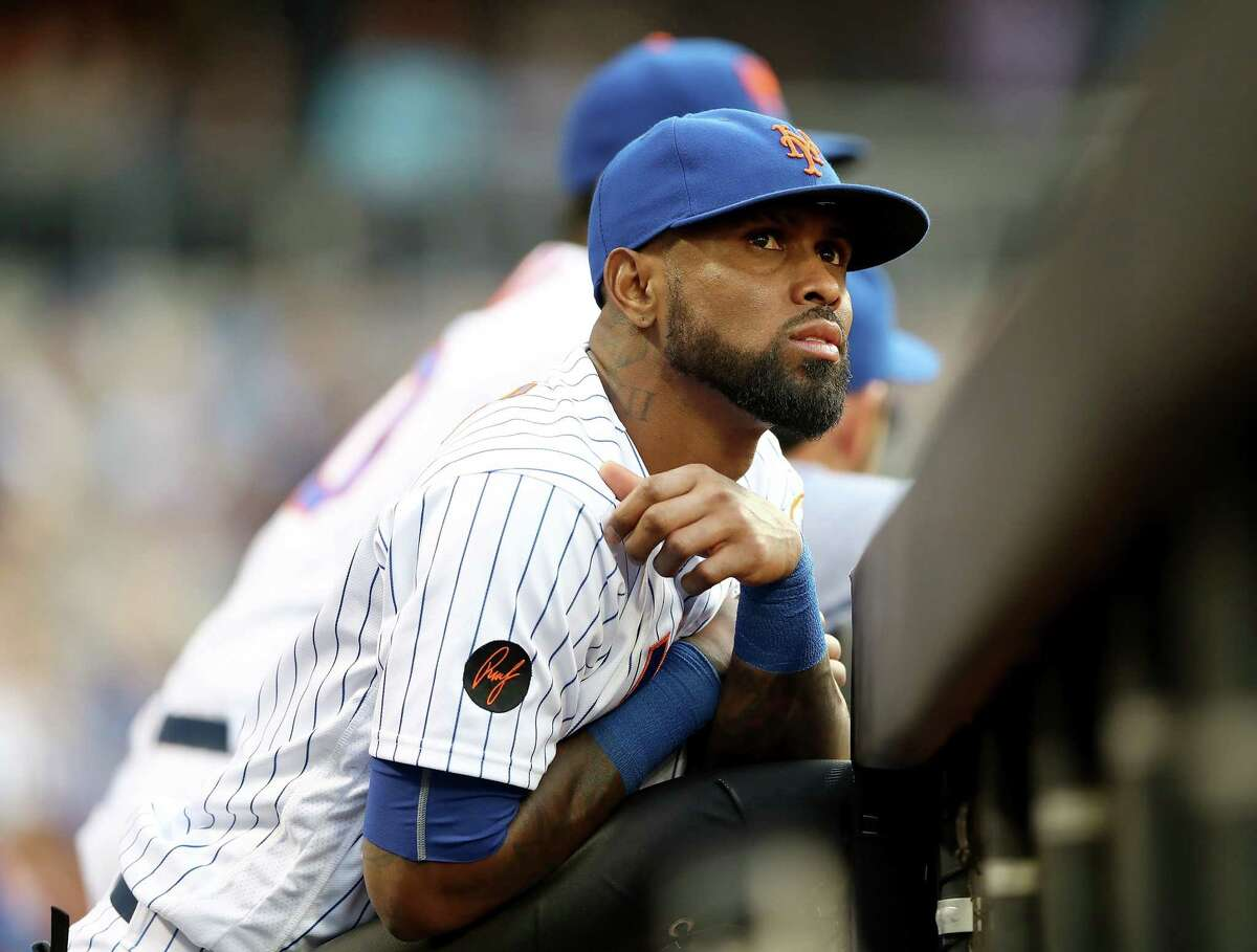NEW YORK, NY - MAY 02: Jose Reyes #7 of the New York Mets looks on from the dugout in the first inning against the Atlanta Braves on May 2, 2018 at Citi Field in the Flushing neighborhood of the Queens borough of New York City. (Photo by Elsa/Getty Images)