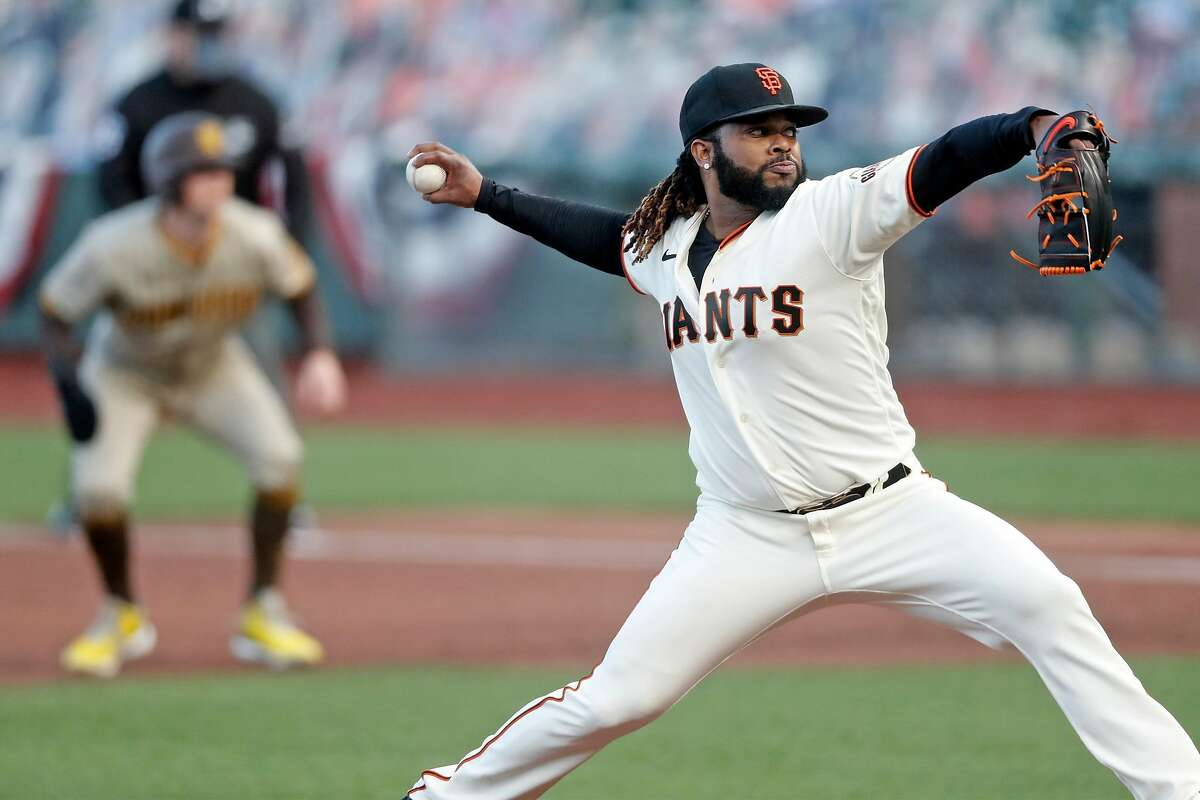 San Francisco Giants' Johnny Cueto delivers in 2nd inning against San Diego Padres during MLB game at Oracle Park in San Francisco, Calif., on Wednesday, July 29, 2020.