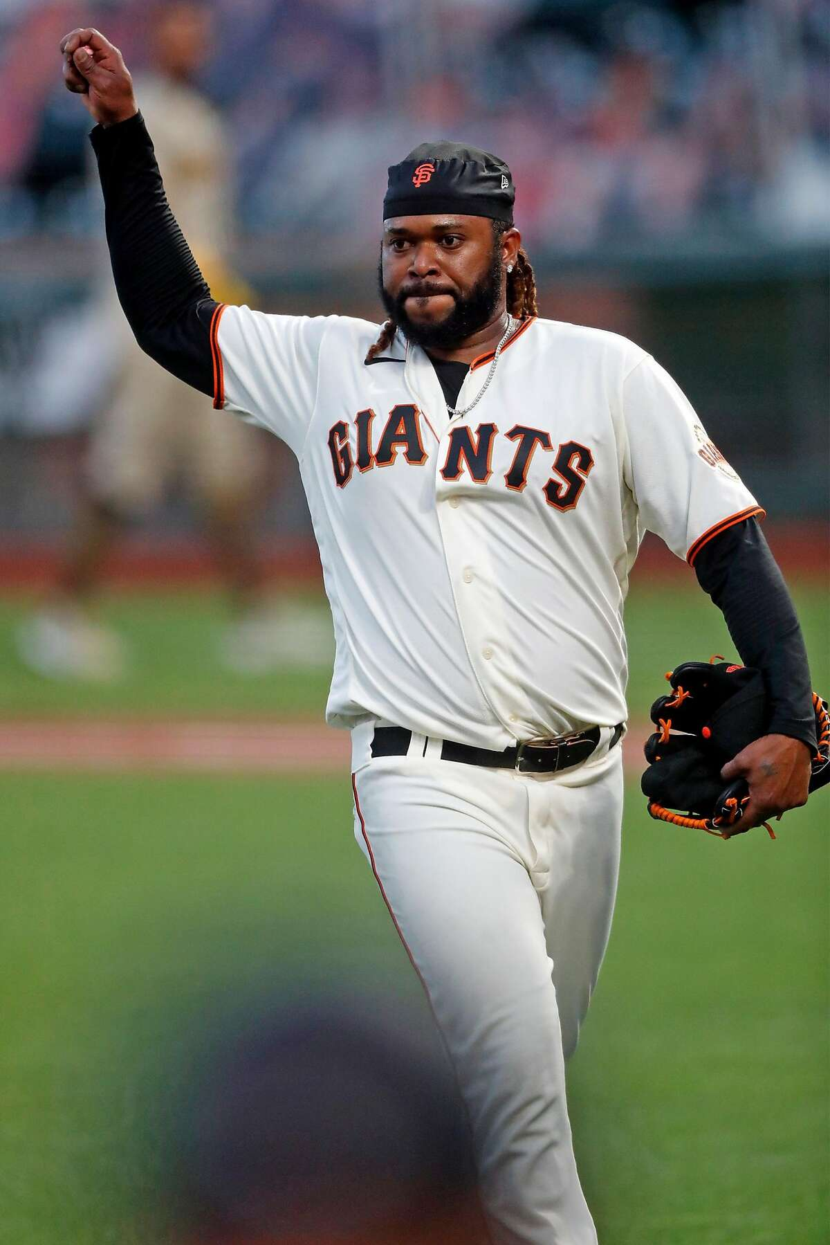 San Francisco Giants' Johnny Cueto throws his gum after being removed from game in 4th inning against San Diego Padres during MLB game at Oracle Park in San Francisco, Calif., on Wednesday, July 29, 2020.