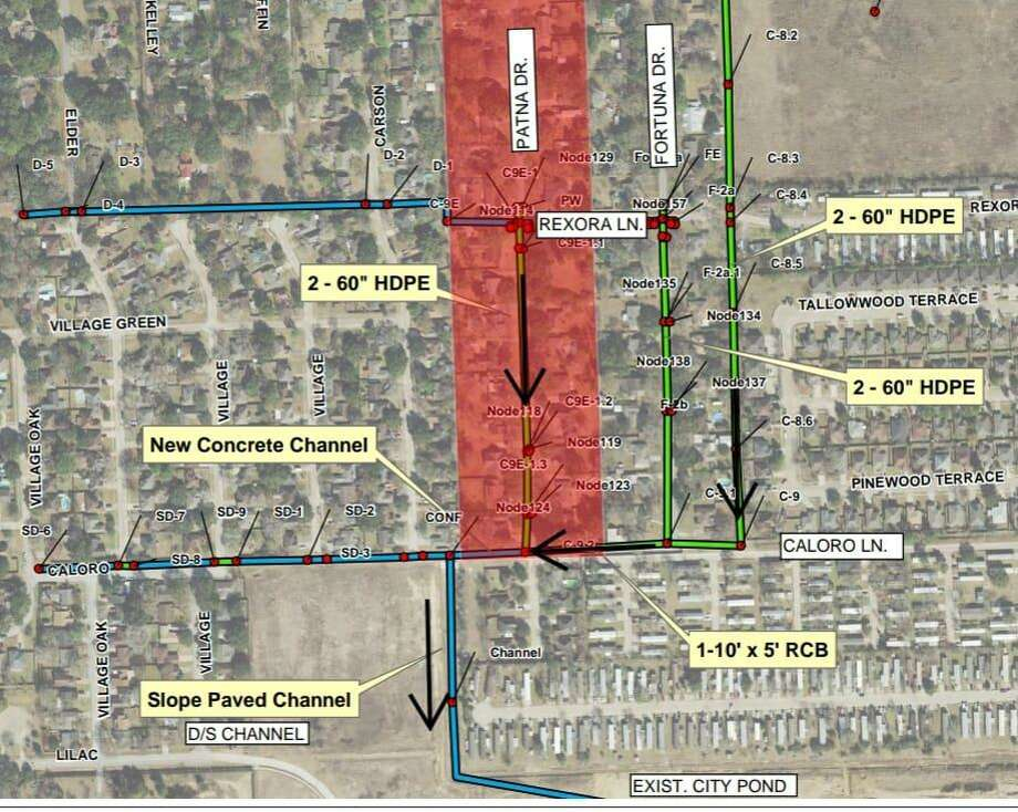 This map shows the scope of the Patna Drive flood mitigation project on July 27. Photo: Courtesy Of The City Of Katy