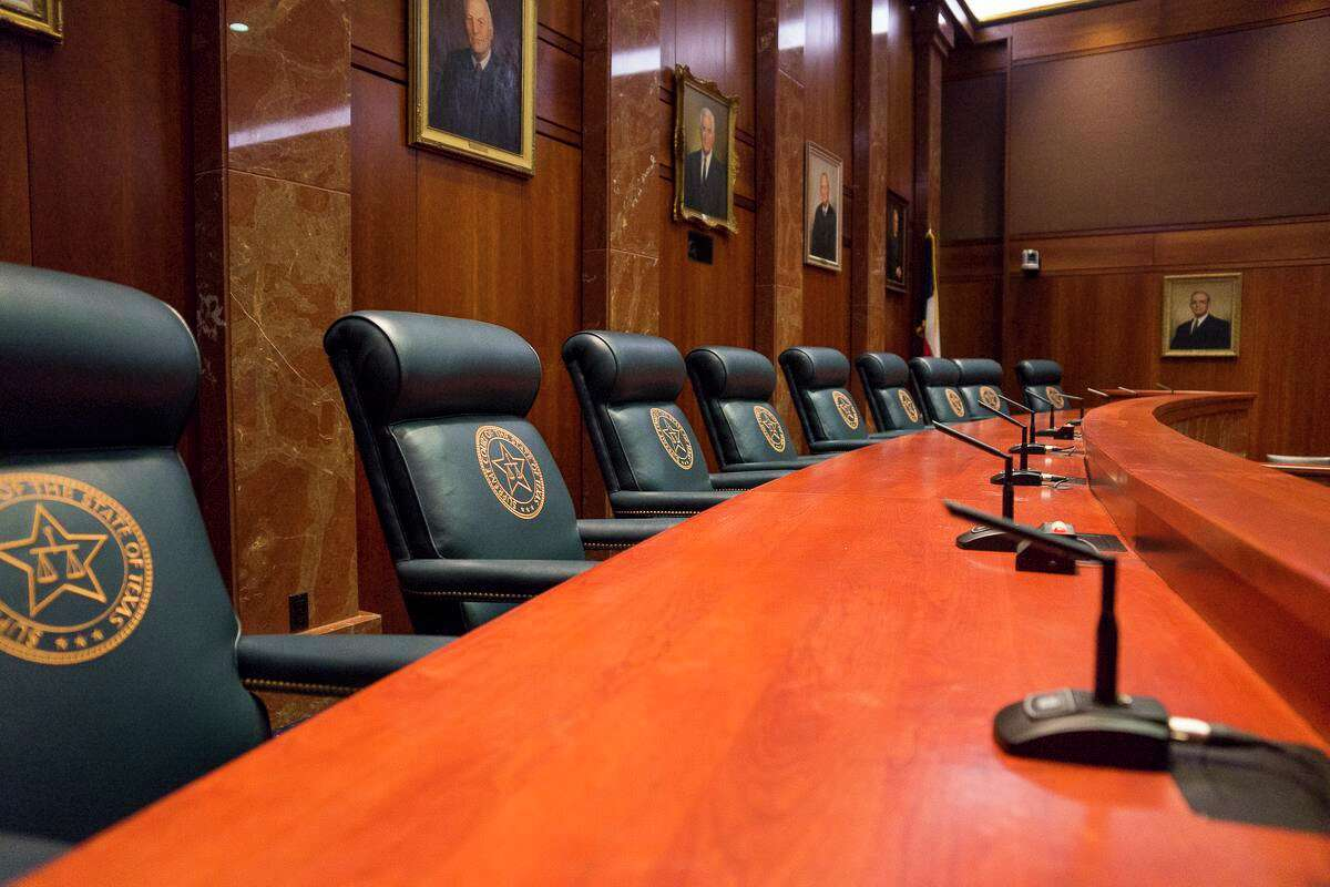The Texas Supreme Court bench on July 30, 2020.