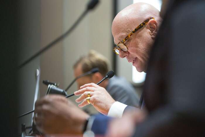 Andrew M. Vesey, Chief Executive Officer and President, PG&E Corp, during an emergency meeting of the California Public Utilities Commission with PG&E executives and board members to answer for the company's mass power outages last week that put hundreds of thousands of customers in the dark and stoked widespread public outrage. On Friday, October 18, 2019. San Francisco, Calif.