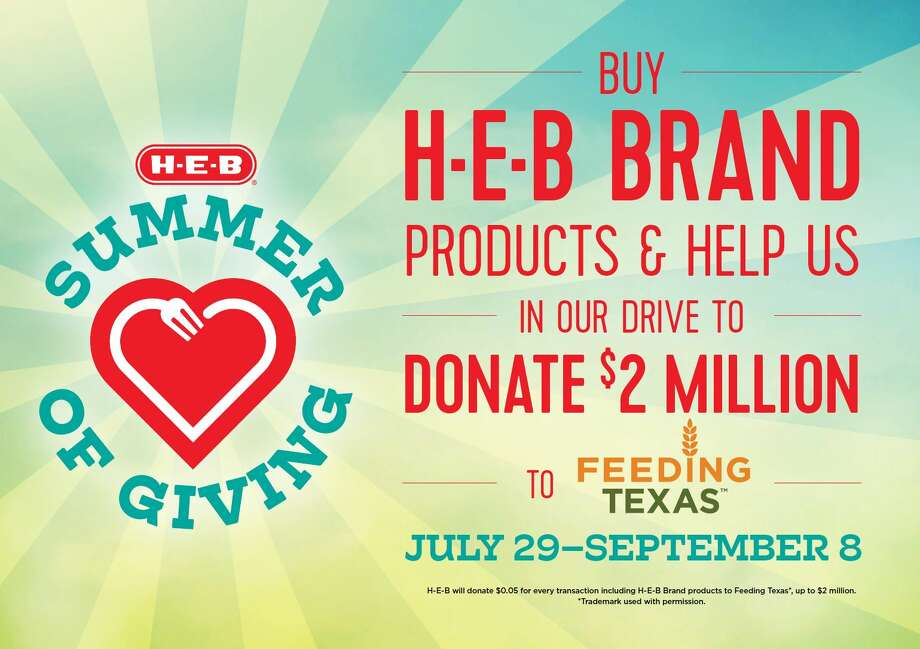 """H-E-B launches the """"Summer of Giving"""" initiative that looks to raise up to $2 million to benefit """"Feeding Texas"""" and the network of food banks across the state. Photo: Courtesy: H-E-B"""