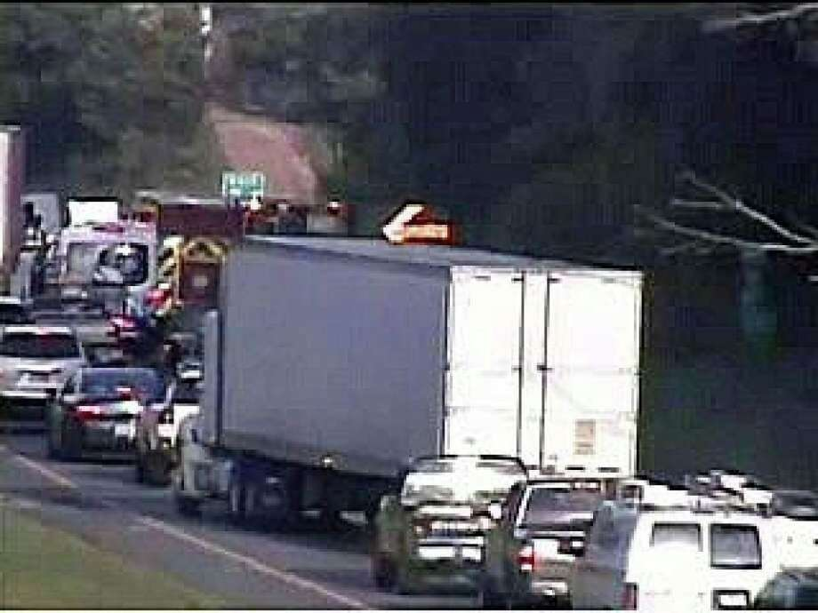 A one-vehicle crash on I-84 in Newtown caused heavy westbound delays the morning of Monday, July 27, 2020. Photo: CT DOT Traffic Cam