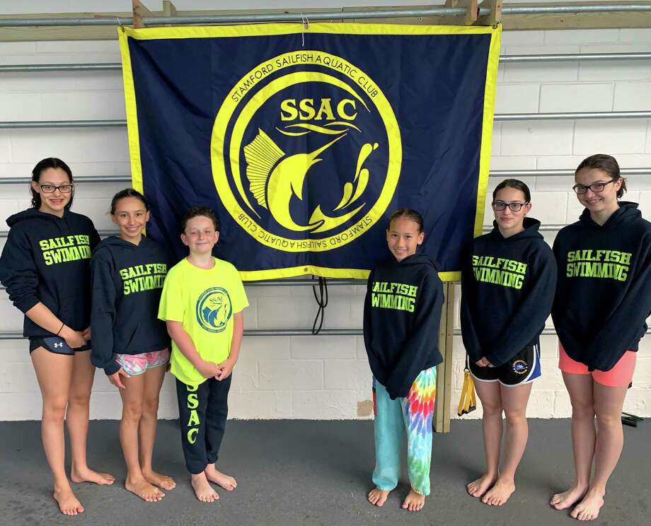 From left to right, Michelle Weissler, Sena Bozkhurt, Kiernan Flaherty, Alina Yelin, Ariya Snelwar and Mey Silvey are part of a Stamford Sailfish Aquatic Club program that was selected as a top 100 Age Group Club by the American Swimming Coaches Association. Photo: Contributed Photo / Stamford Advocate Contributed