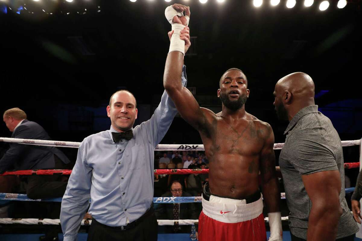Joseph George gets his hand raised after winning a split decision over Marcos Escudero on Nov. 15, 2019 at WinnaVegas Casino in Sloan, Iowa.