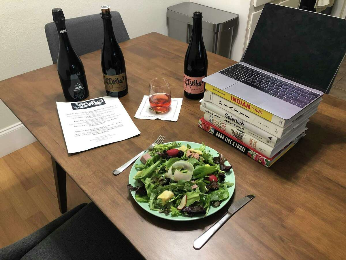 A virtual wine dinner hosted via Zoom by Roma, an Italian restaurant in Rice Village, on July 16, 2020, in Houston.