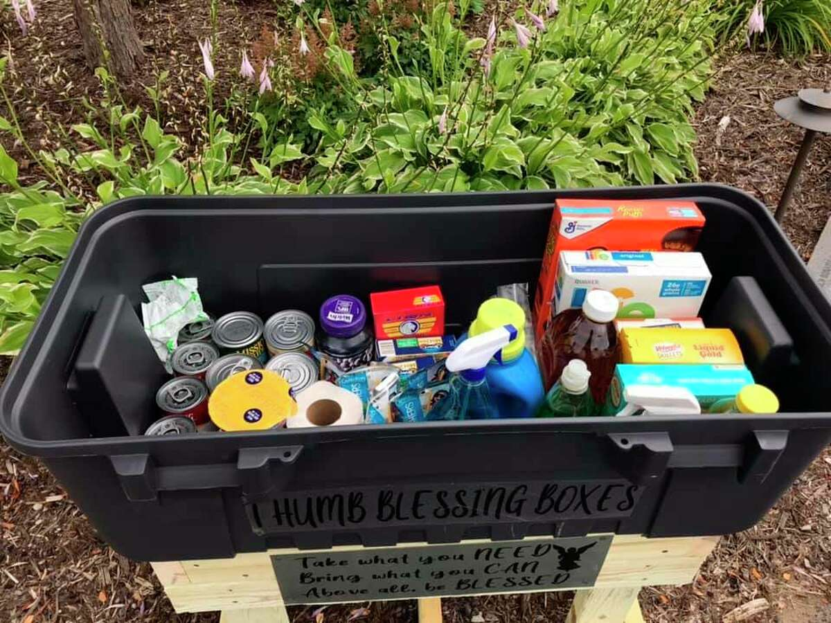 Items found in the Thumb Blessing Boxes include non perishables, baby food, diapers, and cleaning products. Ideas for items to donating can be found on the groups Facebook page where they keep an updated Amazon Wishlist. (Thumb Blessing Boxes/Courtesy Photo)