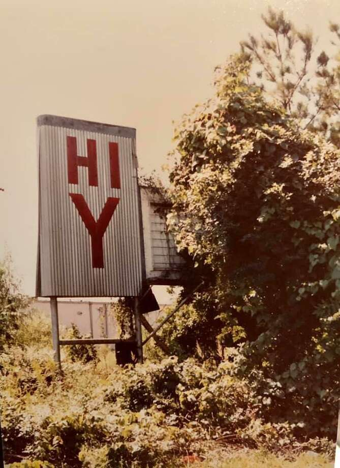 A sign for the old Hi-Y Drive-In theatre on South Frazier. The drive-in was open from 1950 to 1968. This photo was taken in 1980 by Holly York. Apartments are now on the site. Photo: Photo By Holly York