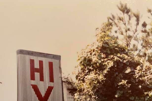 A sign for the old Hi-Y Drive-In theatre on South Frazier. The drive-in was open from 1950 to 1968. This photo was taken in 1980 by Holly York. Apartments are now on the site.