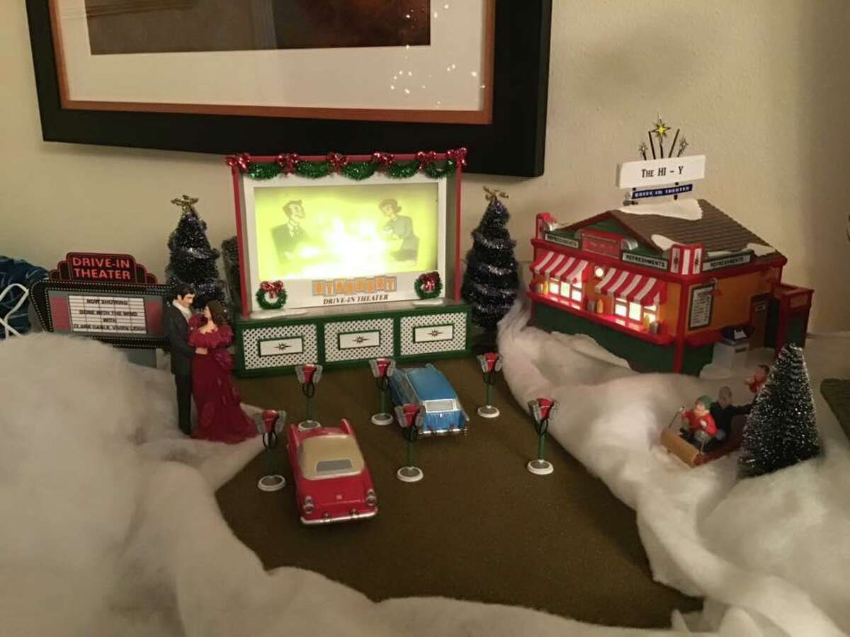 A scene in Pam Walker's Christmas village of old Conroe businesses depicts the Hi-Y Drive In.