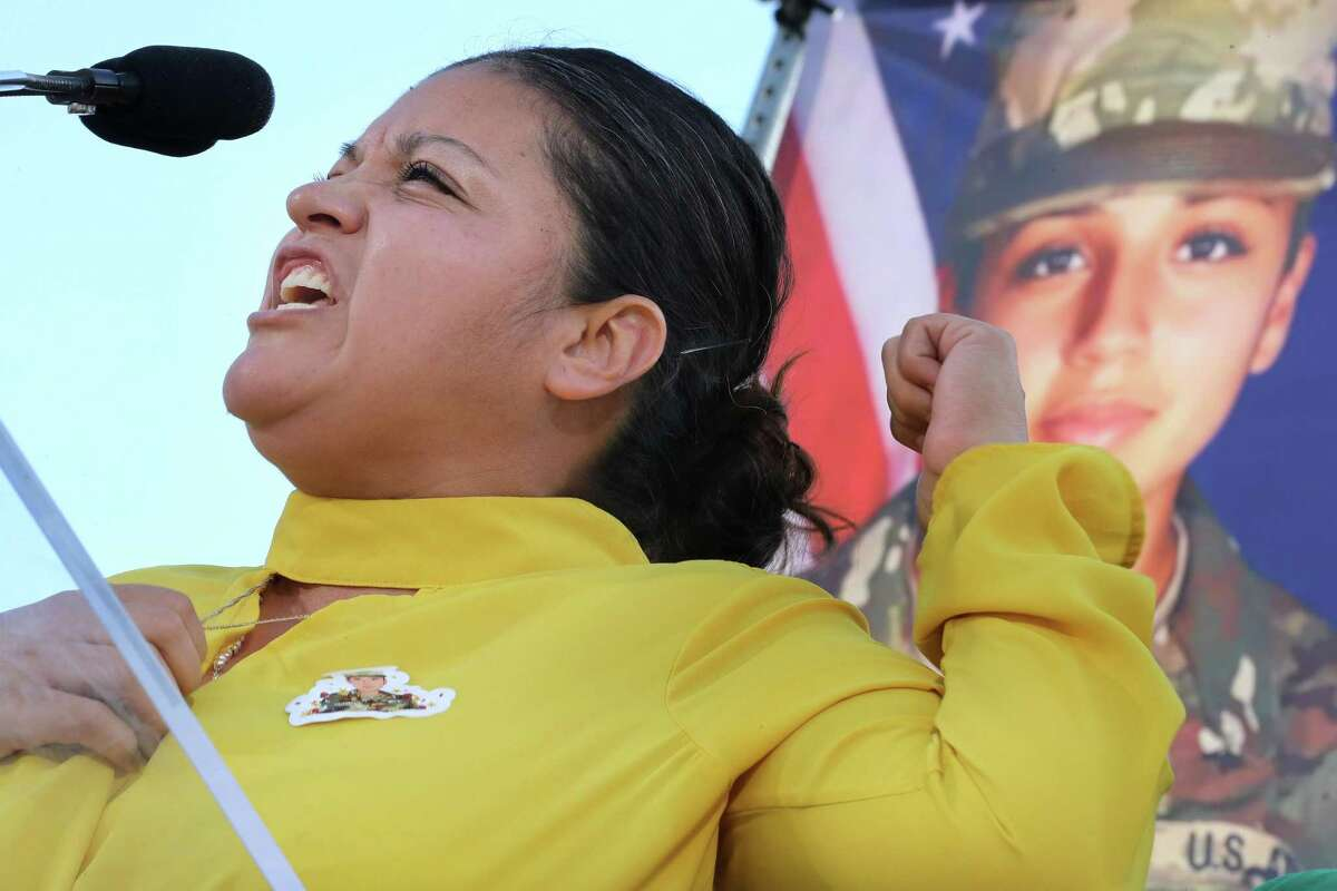 WASHINGTON, DC - JULY 30: U.S. Army Private First Class Vanessa Guillen's mother Gloria Guillen addresses supporters and calls for justice in Vanessa's death and the closure of Fort Hood during a rally on the National Mall in front of the U.S. Capitol July 30, 2020 in Washington, DC. Guillen went missing from her post at Fort Hood, Texas, on April 22 but her remains were not discovered until June 30. A fellow soldier, Aaron David Robinson, was the main suspect in Guillen's murder and shot himself to death as he was approached by police. (Photo by Chip Somodevilla/Getty Images)