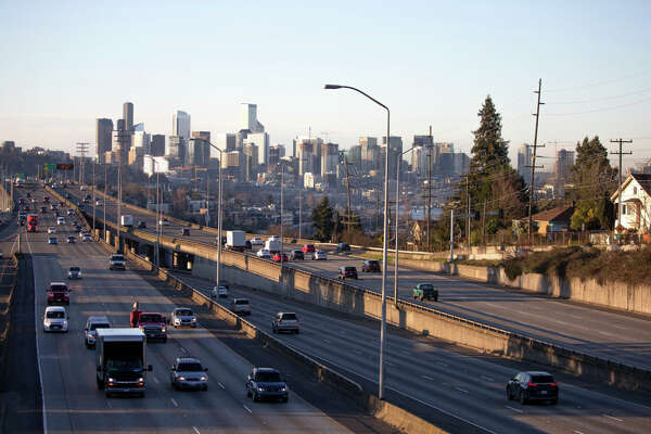 SEATTLE, WA - MARCH 16: Rush hour traffic is lighter than normal during the morning commute heading in and out of Seattle on Interstate 5 on March 16, 2020 in Seattle, Washington. Many employees are working form home in an effort to stem the spread of the highly contagious coronavirus, (COVID-19). (Photo by Karen Ducey/Getty Images)