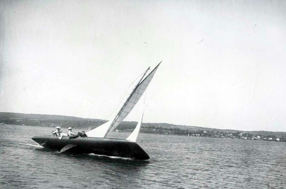 A yacht races across Portage Lake in Onekama circa early 1940s. (Manistee County Historical Museum photo)