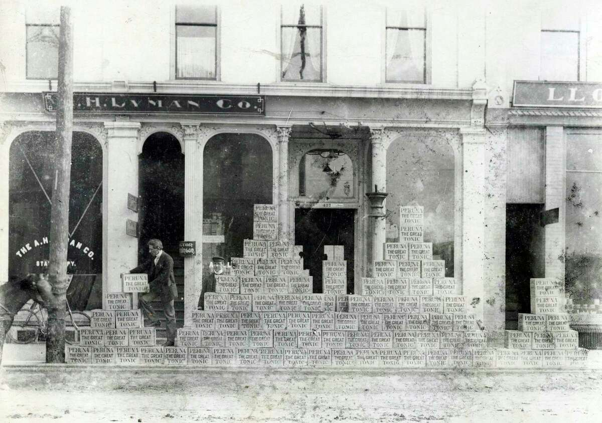 Cases of Peruna stacked up outside the A.H. Lyman Drug Company on River Street circa 1900. (Manistee County Historical Museum photo)