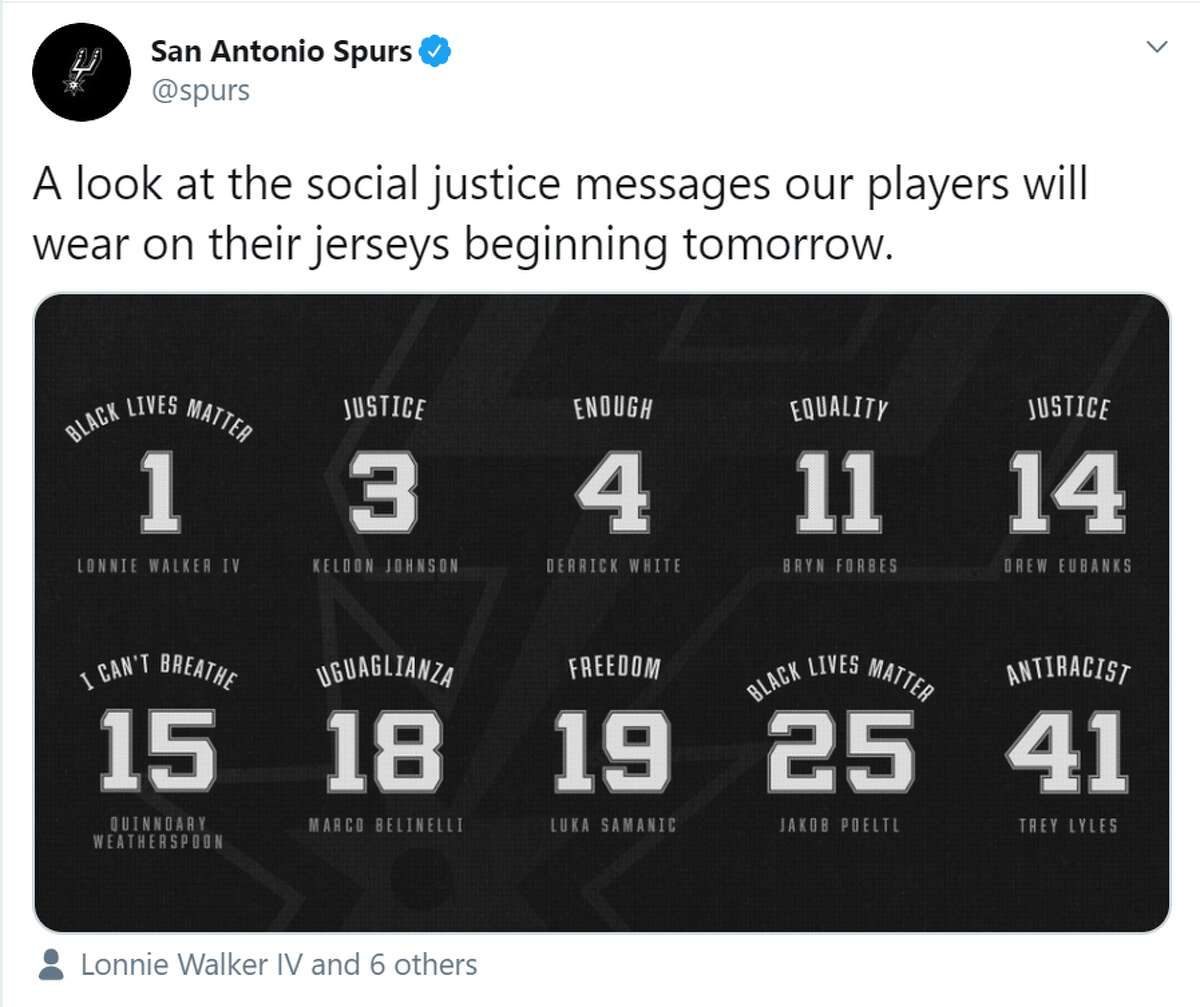When the Spurs hit the court Friday for its first regular season game since the NBA season was suspended in March, expect to see uniforms with messages in support of social justice.