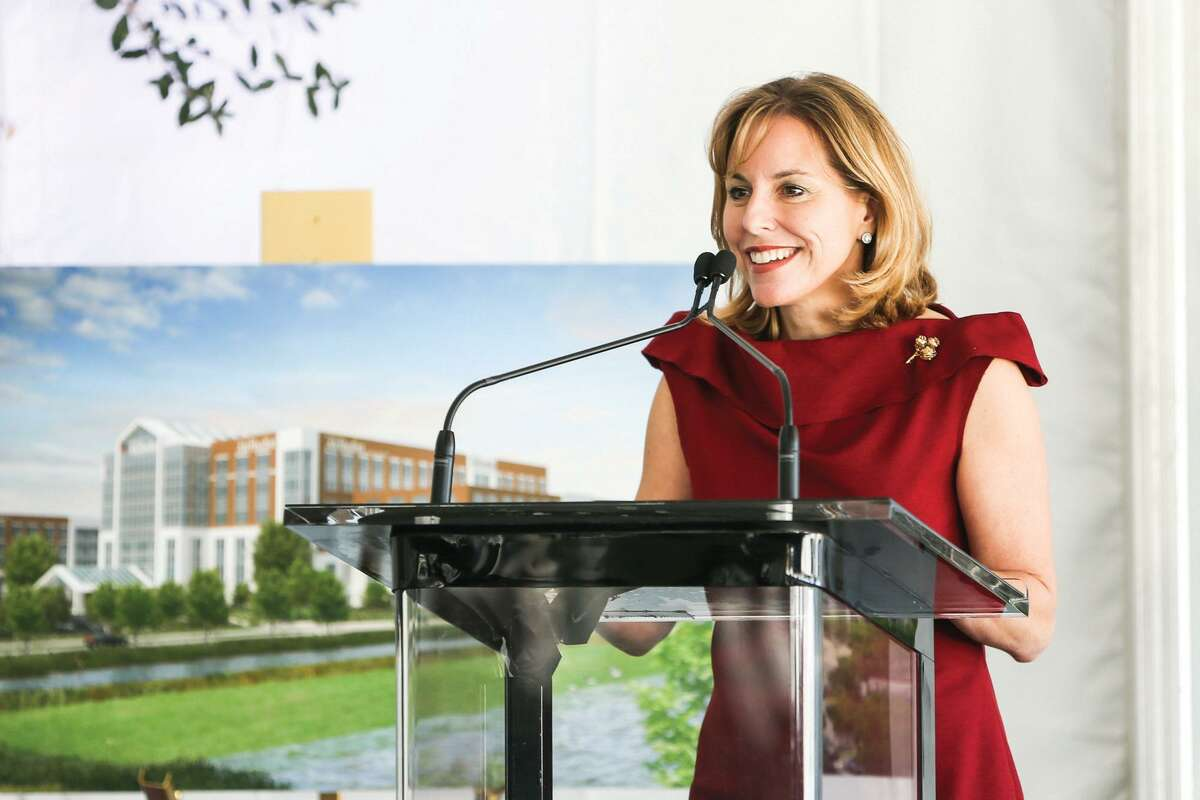 Debra Sukin, Regional Senior Vice President of Houston Methodist, speaks during the Houston Methodist The Woodlands Hospital groundbreaking ceremony on Tuesday, Oct. 21, 2014, off of I-45 North in The Woodlands. Sukin was the keynote speaker for Thursday's ATHENA Luncheon hosted by the Conroe Lake Conroe Chamber.