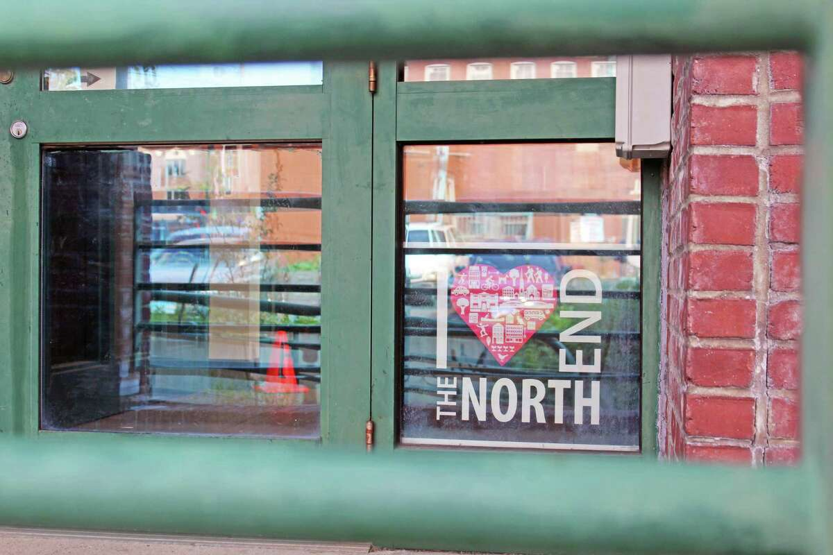 The front entrance of the former Green Street Teaching and Learning Center, at 51 Green St., Middletown, boasts North End pride.