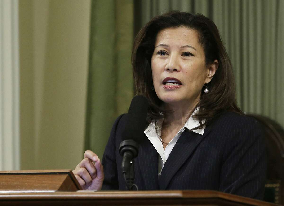 """FILE - In this March 23, 2015, file photo, California Supreme Court Chief Justice Tani Cantil-Sakauye delivers an address before a joint session of the Legislature at the Capitol in Sacramento, Calif. California's decades-old protections for public employees' retirement benefits are not enough to bar state lawmakers from enacting reforms designed to prevent abuses such as """"pension spiking,"""" the state Supreme Court unanimously ruled Thursday, July 30, 2020. A 2012 law designed to keep certain benefits from padding employees' pensions was """"enacted for the constitutionally permissible purpose of closing loopholes and preventing abuse of the pension system,"""" Chief Justice Cantil-Sakauye wrote for the court. (AP Photo/Rich Pedroncelli, File)"""