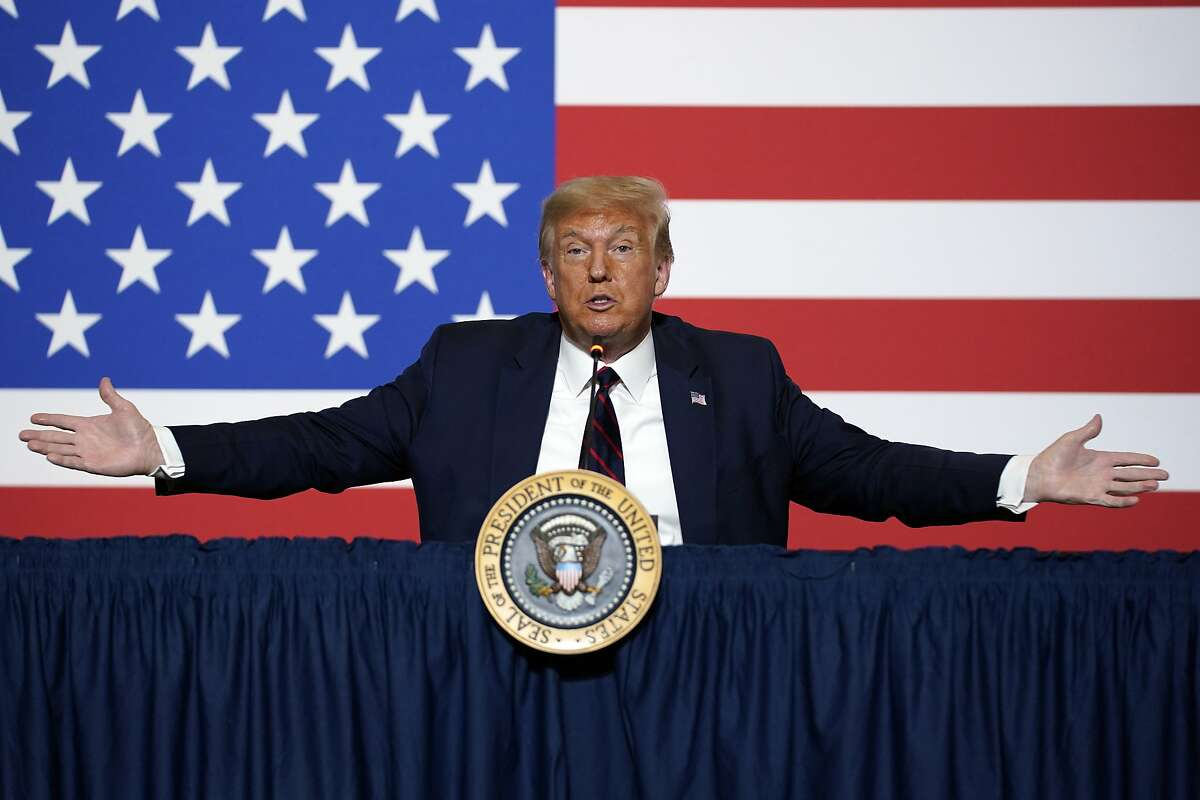 President Donald Trump speaks during a roundtable on donating plasma at the American Red Cross national headquarters on Thursday, July 30, 2020, in Washington. (AP Photo/Evan Vucci)