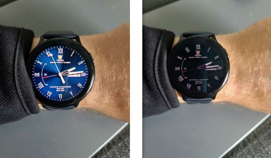 The always-on feature of the Samsung Galaxy Watch Active 2 allows you to save battery life with a toned-down version of the same face while the watch is inactive. Photo: Jason Mack /Laredo Morning Times