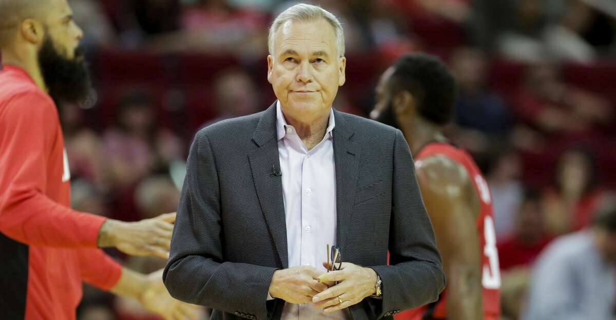 Houston Rockets head coach Mike D'Antoni walks away from the bench during a time out as the Houston Rockets host the Golden State Warriors at the Toyota Center on Wednesday, Nov. 6, 2019 in Houston.