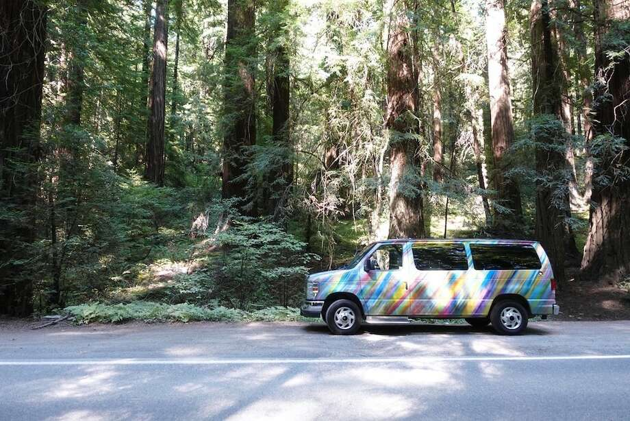 The van in the Avenue of the Giants. Photo: Brandon Harper