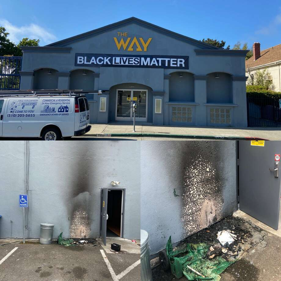 A day after the Way Christian Center in Berkeley put up a Black Lives Matter sign, someone tried to burn down the church, church leaders said Thursday, July 30, 2020. Photo: Twitter