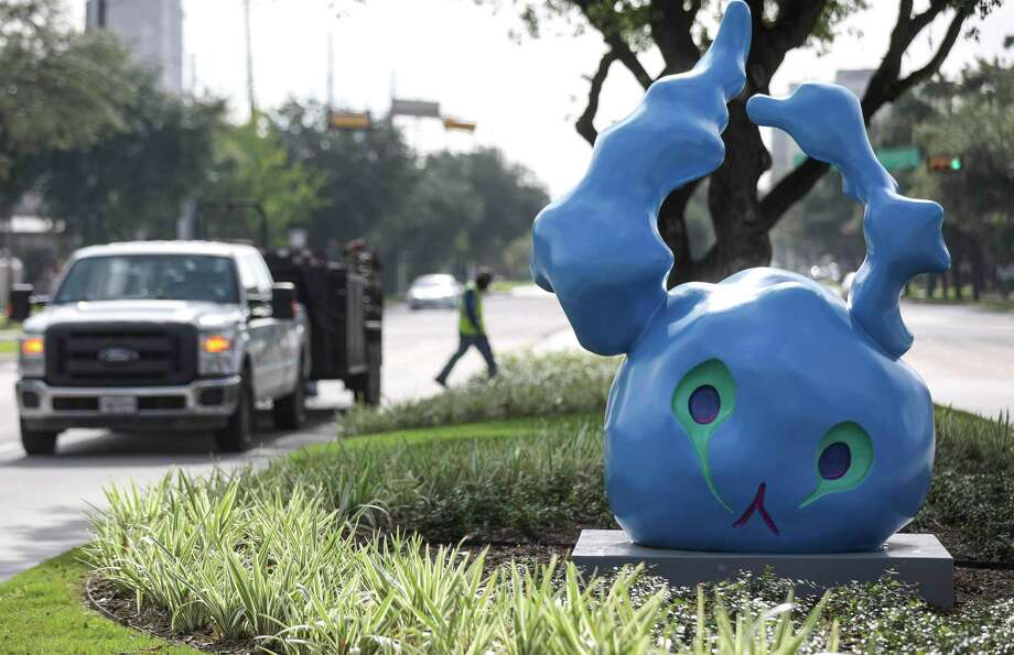 """Tara Conley's sculpture """"BUNNY,"""" photographed Thursday, July 30, 2020, at in Houston. Public art was installed on esplanades on Richmond Avenue as part of a tax increment reinvestment zone project. Photo: Jon Shapley, Houston Chronicle / Staff Photographer / © 2020 Houston Chronicle"""