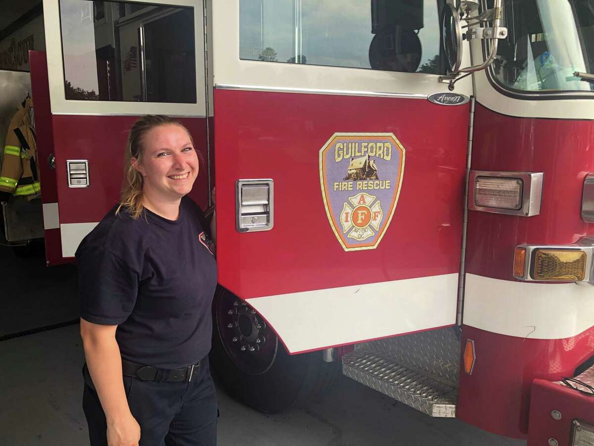 Ashley Vargoshe, a medic and firefighter with the Guilford Fire Department, on July 30, 2020 in Guilford, Conn. During her first full 24 hour shift with the department on July 27 and 28, she was called to deliver a baby.
