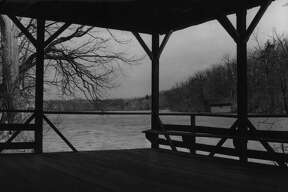 The pavilion at lower end of Crystal Lake near Averill Park in a 1949 view toward the north. (Times Union Archive)
