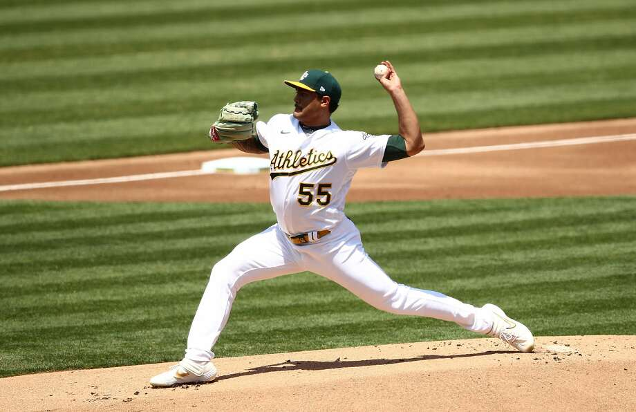 Sean Manaea is scheduled to start for the A's as they play their first road game of the season against Seattle at 6:30 p.m. Friday (NBCSCA/960). Photo: Ezra Shaw / Getty Images