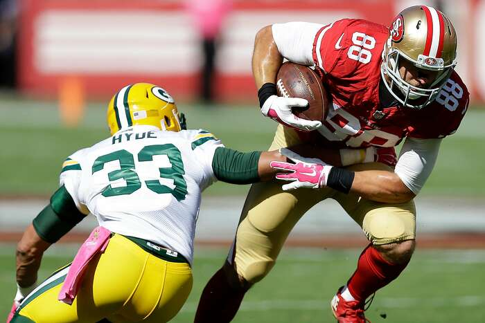 San Francisco 49ers tight end Garrett Celek (88) runs against Green Bay Packers cornerback Micah Hyde (33) during the first half of an NFL football game in Santa Clara, Calif., Sunday, Oct. 4, 2015. (AP Photo/Ben Margot)