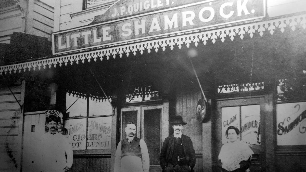 The Little Shamrock bar located on Lincoln Street near 9th Ave in the Sunset district of San Francisco, Calif. circa 1900.